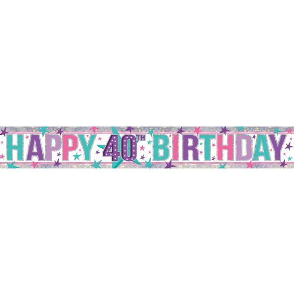 Holographic Pink Happy 40th Birthday Foil Banner
